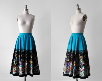 50's mexican painted skirt. 1950's full skirt. blue. colorful. cotton. small. 50 novelty skirt. s.