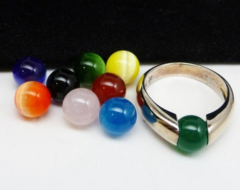 Convertible Sterling Ring - Multi Colored Beads - Sterling Silver Band - Retro Mod Design - Vintage Signed TH 925 Jewelry