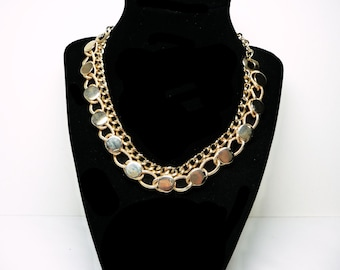 Linky Chain Modernist Necklace - Goldtone Choker Style - Charm Chain Links - Vintage Design