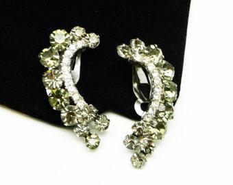 D&E Juliana Rhinestone Earrings - Smokey Black Rhinestones - Double Row  Ear Crawler Style Vintage Earrings