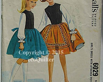 RARE Vintage 60's Helen Lee Girls' Tri-Color Dress with Attached Petticoat McCall's 6029 Sewing Pattern INCOMPLETE Size 14