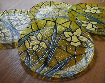 DAFFODIL PLATE SET (4)- Textured Stained Glass Look/Hand Painted