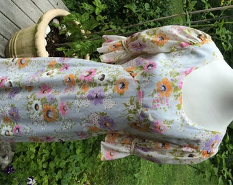 60s Long Dress / Empire Waist / Flower Girl / Hippee / BOHO / Chiffon Floral / Mod Floral dress / Mod Daisy dress / PROM Festival