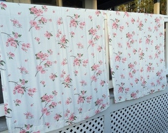 Vintage Fabric 2 Shabby Chic Curtain Panels Pink Dogwood Flowers Country Cottage 2 Floral Curtain Panels Ready to Hang