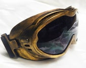 SNOWBOARDING Skiing Biking Distressed-Look GOLD Oversized 'Over Glasses' Steampunk GOGGLES - Burning Man Goggles
