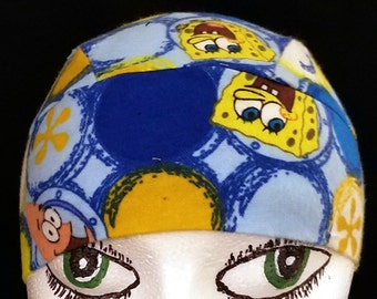 Spongbob Square Pants FLANNEL Skull Cap, Chemo Cap, Do Rag, Biker, Liner, Men, Women, Hats, Head Wrap ,Alopecia, Motorcycle, hair loss, bald