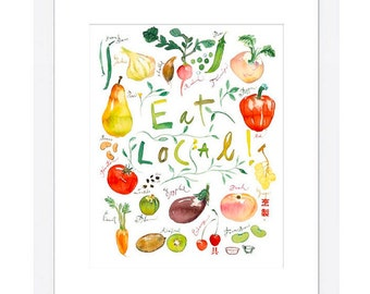 Eat local poster, Kitchen decor, Food art, Vegetable print, Colorful wall art, Farmers market, Watercolor fruit, Vegetable painting, 8X10