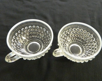 Anchor Hocking Moonstone Opalescent Hobnail Coffee / Tea Cup M2779 Lot of Two