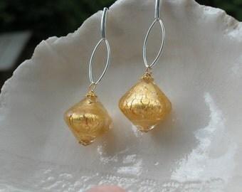 Large Bicone Murano Glass Earrings