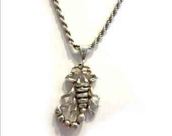 "Mens Sterling Silver Scorpion Necklace Scorpio Heavy Rope Sterling Chain 18"" 25 grams Made in Italy 925"