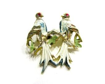 Vintage Birds Enamel Brooch Vintage Gold Small Figural Pin White Blue Birds Gift for Her Gift for Mom Gardener Gift Idea under 10