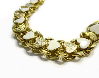 """Vintage Gold Hearts Link Bracelet White Enamel Bracelet Vintage Jewelry 6 1/2"""" Heavy Chain Etched Hearts Jewelry for Her for Mom Under 25"""