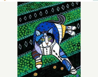 Marked Down 50% - tabby Cat Folk art  Poster Print of painting by Heather Galler (HG864)