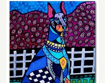 Dobbie Doberman Pinscher art Tile Ceramic Coaster Mexican Folk Art Print of painting by Heather Galler dog
