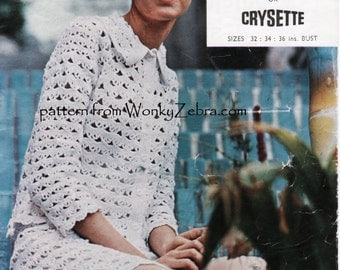Vintage sixties Twiggy Crochet Suit Quick Crocheting skirt jacket Crochet Pattern PDF 832 from WonkyZebra