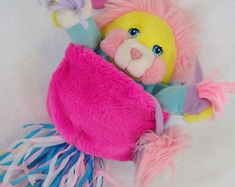 Popples Cheerleader Cheer Potato Chip Plush Yellow Pink and Blue vintage 80s Mattel
