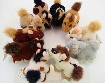 Galoob Pound Ponies Pony Horse Puppies Lot of 10 Mini Plush Brown Tan Gray White black Cream Vintage Miniature Mini Tiny Farm Animal 90s