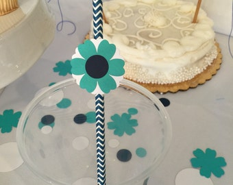 8 Blue Flower Paper Staws, Floral Paper Straw, Party Straw, Paper Straw, Birthday Straws,
