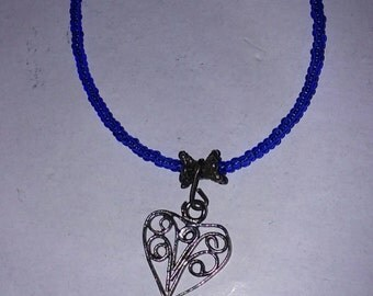 Heart Pendant Vintage Filigree on Blue Seed Bead Necklace