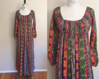 Vintage 60s 70s Jacquard Bohemian Maxi Dress • Hippie Flower Child Maxi Dress