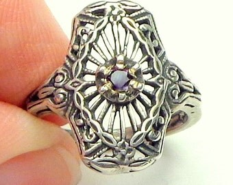 Sz 5 1/4, Genuine Pink Diamond, Antique Edwardian, Sterling Silver Filigree Ring, Renaissance,Promise Ring, Engagement,Natural Gemstone Ring