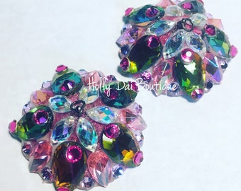 Rainbow pink Rhinestone BURLESQUE couture pasties