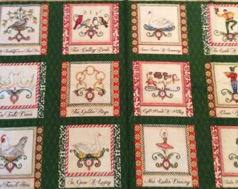 A Beautiful Twelve Days of Christmas Holiday By Windam Fabrics Quilting Fabric Panel Free US Shipping