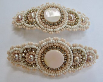OAK Beadwork by Sarah Klopping/Pair of Hand Beaded Hair Barrette with Pale Pink Shell Center