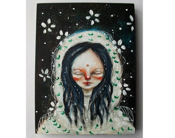 folk art Original girl painting mixed media art painting on wood canvas 8x6 inches - Cocoon