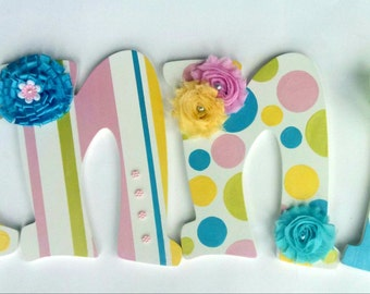 Hand Painted Custom Nursery Wall Letters, Painted and Embellished Wood Wall Letters, Decorative Hand Painted Letters, Nursery Decor