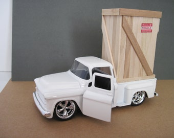 1955 CHEVY Stepside Pickup Truck with Pencil Holder Crate - Jada 1:32 Scale -Birthday Gift, Table Decoration