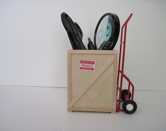 Wooden Crate Pencil Holder with Two Wheel Dolly-Birthday Gift, Table Decoration