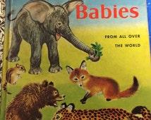 1958 Wild Animal Babies Book kangaroo koala leopard Little Golden Book timber wolf hippopotamus baby animals illustration Feodor Rojankovsky