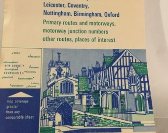 Map of England THE MIDLANDS town maps routes and motorways new county boundaries RAC paper map driving map instructions