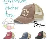 Monogrammed Trucker Hat, Distressed Brown Trucker Hat - Personalized Ball Cap, Mesh Trucker Hat