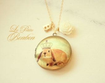 Drama queen bunny with initial pictures Locket necklace