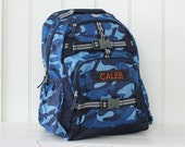 Large Backpack With Monogram (Large Size) Pottery Barn -- Navy Camo with Gray Straps