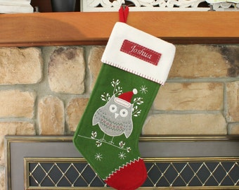 Owl Nordic Wool Stocking with Monogram Pottery Barn --- Free Monogram