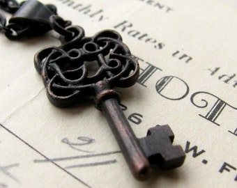 Ornate Jewelry box key necklace, Fallen Angel Brass, vintage style, black brass, filigree skeleton key, pendant, charming