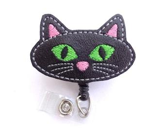 Halloween Badge Holder - Black Cat - black marine vinyl badge reel - nurse badge reel medical badge reel veterinarian vet tech