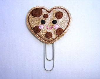 Sale - Glitter Vinyl planner clip organizer bookmark paper clip - Cookie Love - chocolate chip cookie heart - planner accessories
