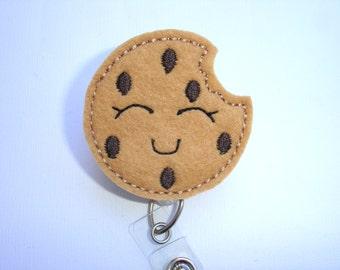 Retractable badge holder - Cookie badge reel - tan felt chocolate chip cookie - nurse badge reel medical badge reel - baker teacher