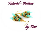 Earring beading pattern Talita. Beaded earring with spike PDF instructions Step by step, Tutorial for spike earring
