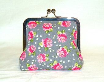 Palm Clutch in Small Pink Rose Pattern on Grey Background