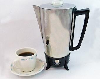 Mid Century Modern Presto Super Speed Electric Percolator - Coffee Maker - 10 Cup