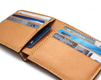 Premium Italian Calf Men's Leather wallet, Hand Stitched Bifold wallet in Camel (Free Personalization)