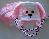Diaper Cover/Puppy Dog Hat Set  for 0-3 Month Baby Girl or Reborn Doll in White with Pink Trim.