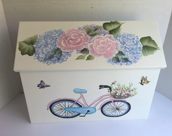 Hand painted mailbox, wall mount mailbox, custom ordered with  bicycle, hydrangeas, pink flowers, blue flowers,  personalized, house number
