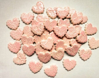 Ceramic mosaic tiles-Heart tiles -ceramic mosaic tiles - pinkhearts