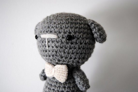 SALE! Grey Dog, hand-crocheted toy, amigurumi, ready to ship